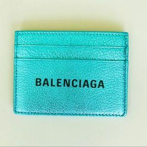 NWT Balenciaga Logo Metallic Card Holder